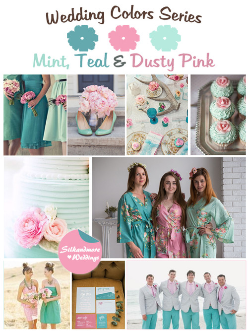 Mint, Teal and Dusty Pink Wedding Color Palette