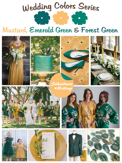 Mustard, Emerald Green and Forest Green Wedding Color Palette