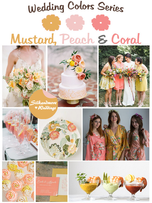 Mustard, Peach and Coral Wedding Color Palette