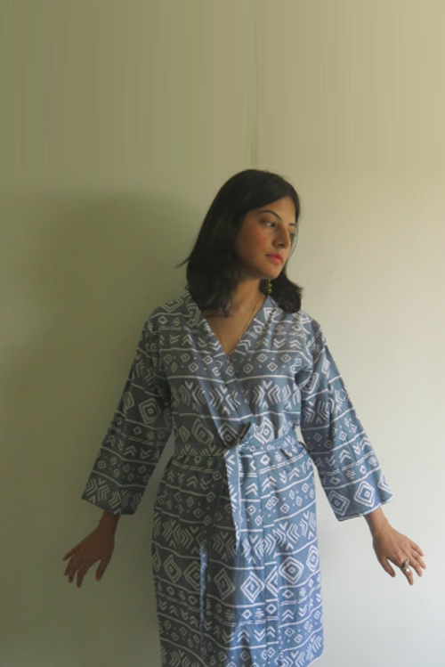 Gray Tribal Aztec Robes for bridesmaids