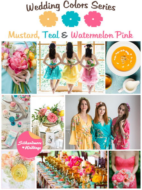 Mustard, Teal and Watermelon Pink Wedding Color Palette