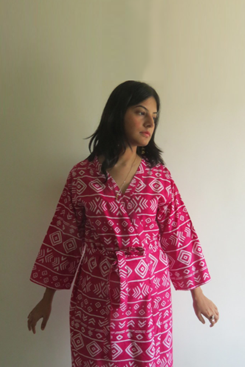 Magenta Tribal Aztec Robes for bridesmaids