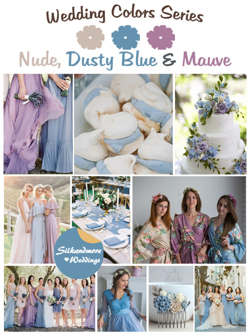 Nude, Dusty Blue and Mauve Wedding Color Palette