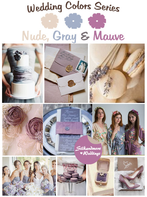 Nude, Gray and Mauve Wedding Color Palette