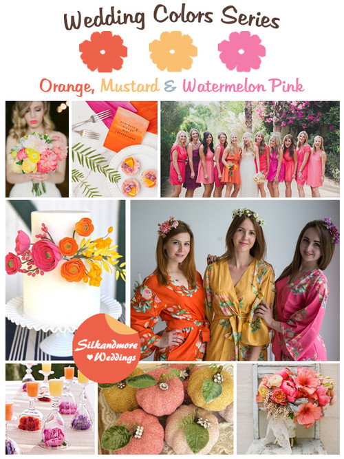 Orange, Mustard and Watermelon Pink Wedding Color Palette