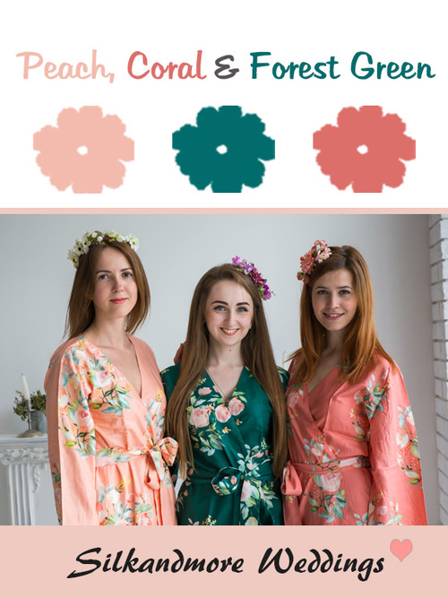 Peach, Coral and Forest Green Color Robes - Premium Rayon Collection
