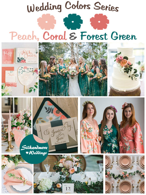 Peach, Coral and Forest Green Wedding Color Palette