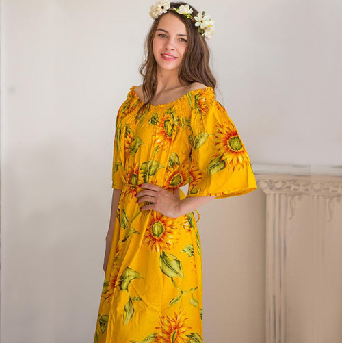 Yellow Sunflower off the shoulder Maxi Dress