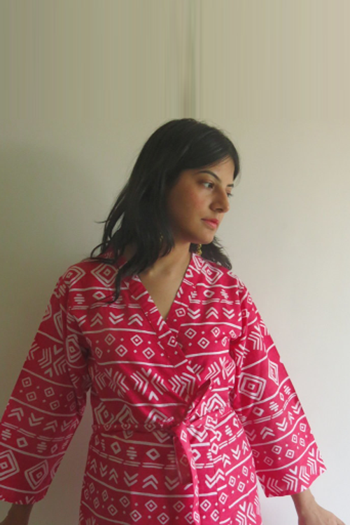 Red Tribal Aztec Robes for bridesmaids | Getting Ready Bridal Robes