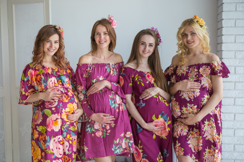 Mommies in Plum Floral Shift Dresses