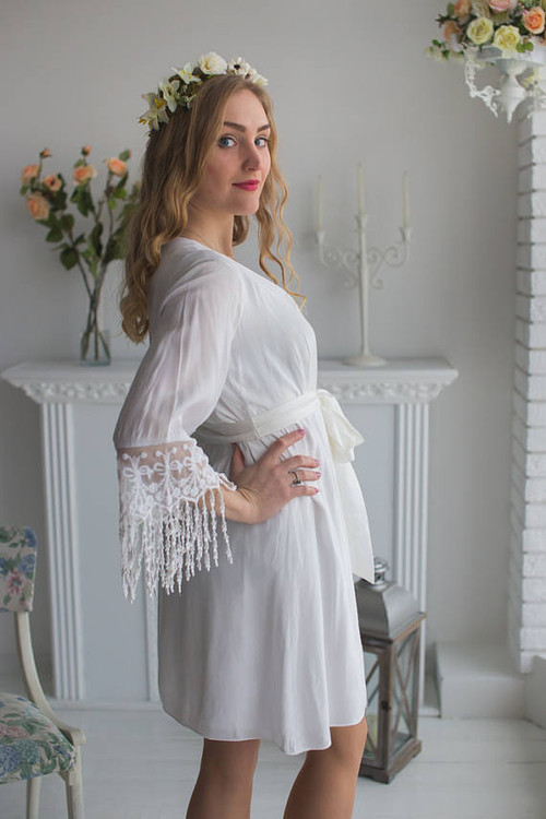 Lace Trimmed Bridal Robe from my Paris Inspirations Collection - Long Lace Tassels Cuffs