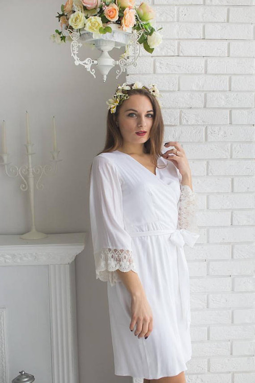 cac568a1010 Lace Trimmed Bridal Robe from my Paris Inspirations Collection - Tiny  Flowers Scalloped Lace Cuffs