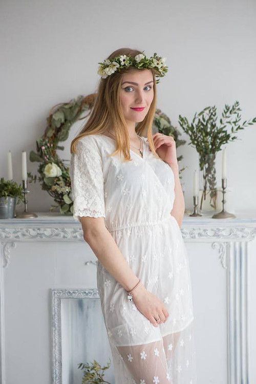 Illusion Bridal Jumpsuit from my Paris Inspirations Collection - Short Sleeved Crossover Style
