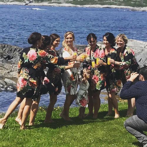 Black Large Floral Blossom Bridesmaids Robes