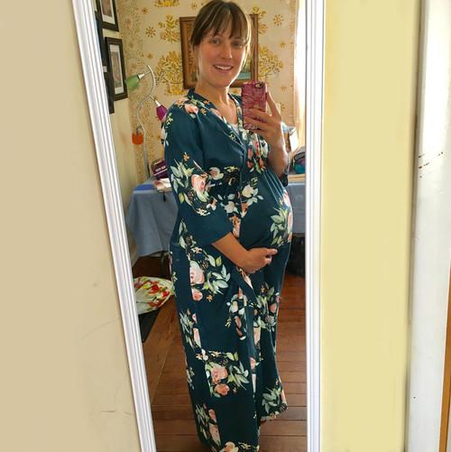 Dark Teal Blue Maternity In-Built String Robe