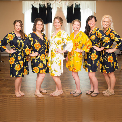 Mismatched Sunflower Bridesmaids Robes