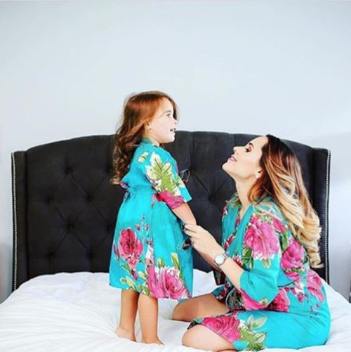 Teal Large Fuchsia Floral Blossom Baby Mommy Matching Robes