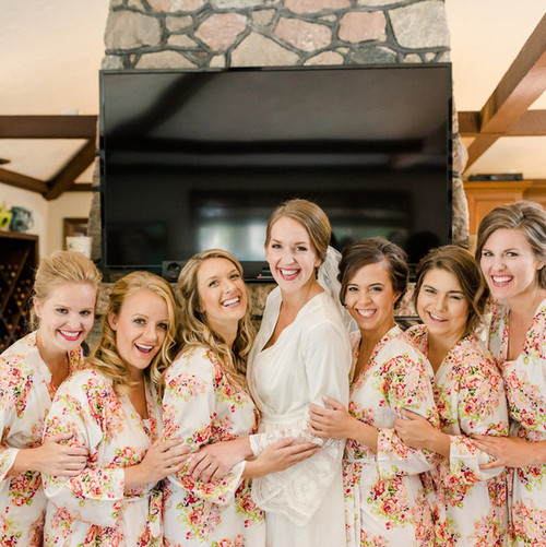 Lace Trimmed Bridal Robe and White Floral Bridesmaids robes