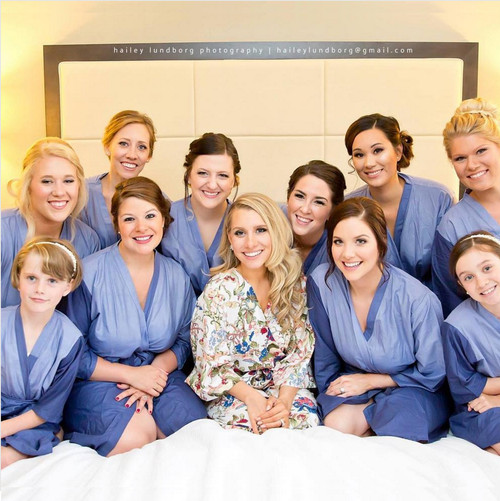Dark Blue Dip Dyed Bridesmaids Robes