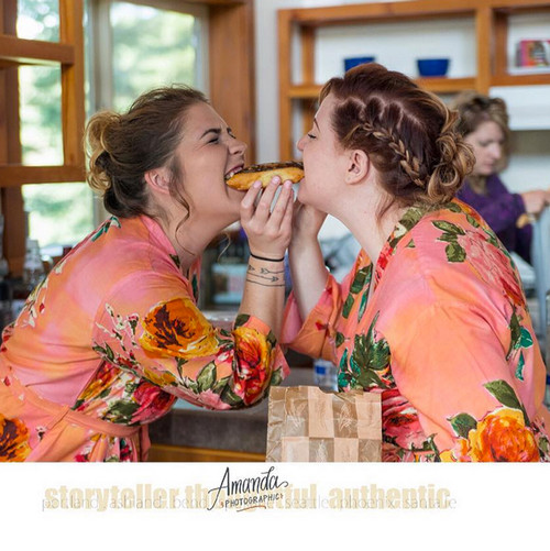 Large Floral Blossom Bridesmaids Robes in Coral