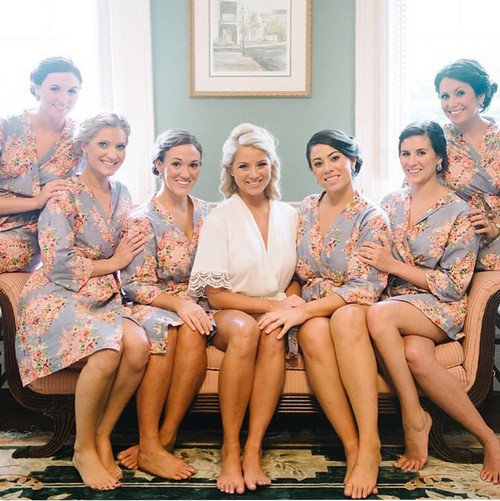 Gray Floral Posy Bridesmaids Robes