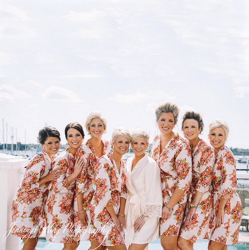 White Floral Posy Bridesmaids Robes