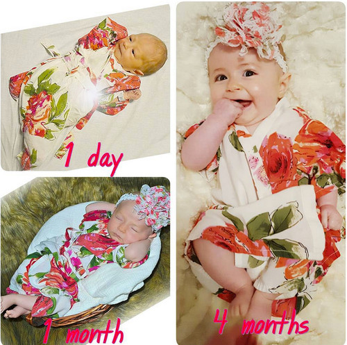 White Fuchsia Large Floral Blossom Baby Robe