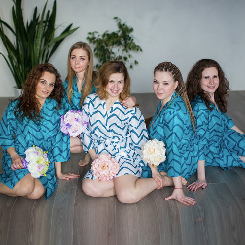 Teal Chevron Robes for bridesmaids | Getting Ready Bridal Robes