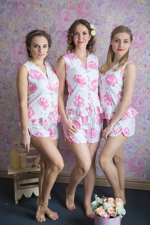 Corset Style PJs in Blushing Flowers Pattern-short
