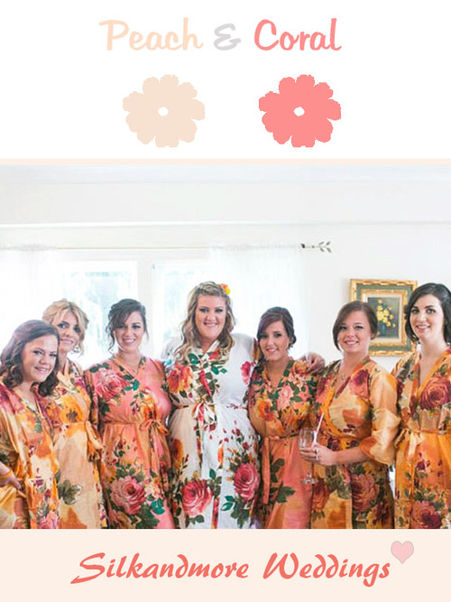 Coral and Peach Wedding Color Robes - Premium Rayon Collection