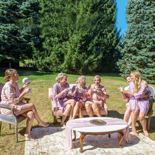 Mismatched Lilac and Blush Faded Flowers Bridesmaids Robes