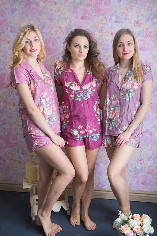 Plum, Lilac & Dusty Mauve Wedding Color Pj Sets in Notched Collar Style