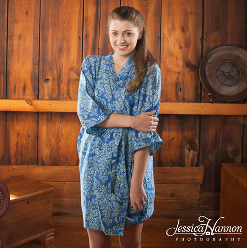Blue Damask Robes for bridesmaids | Getting Ready Bridal Robes