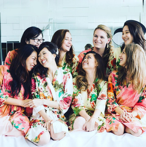 Mismatched Large Floral Blossom Bridesmaids Robes in Coral and Pastel Yellow