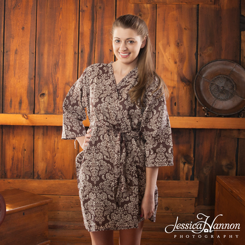 Brown Damask Robes for bridesmaids | Getting Ready Bridal Robes