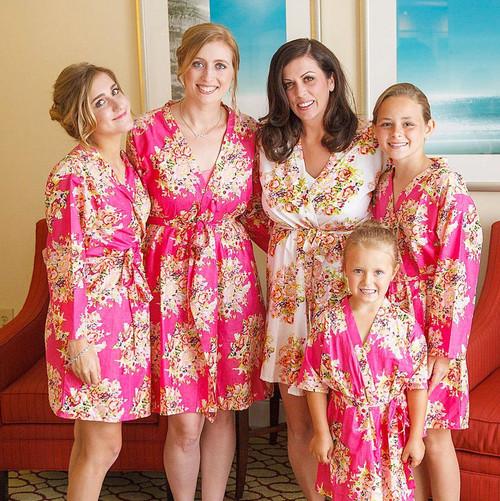 Magenta Floral Posy Bridesmaids Robes
