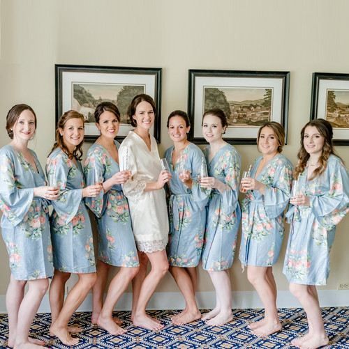 Premium Dreamy Angel Song Bridesmaids Robes in Dusty Blue