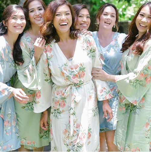 Premium Dreamy Angel Song Bridesmaids Robes in Dusty Blue and Sage