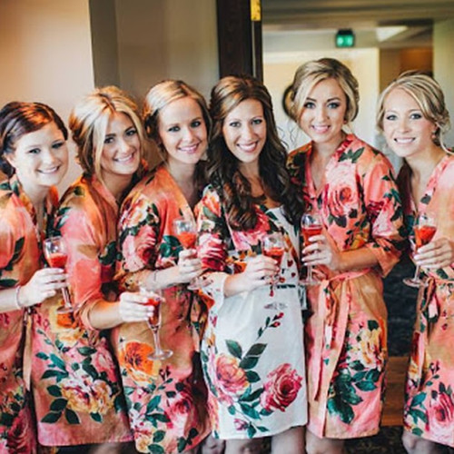 Set of 6 Bridesmaids Robes in Coral Large Floral Blossom - Floral wedding Robes