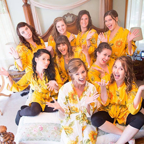 Set of 9 Bridesmaids Roes in Yellow Sunflower- Floral wedding Robes