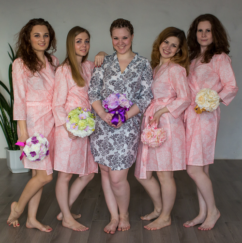 Pink Damask Robes for bridesmaids | Getting Ready Bridal Robes