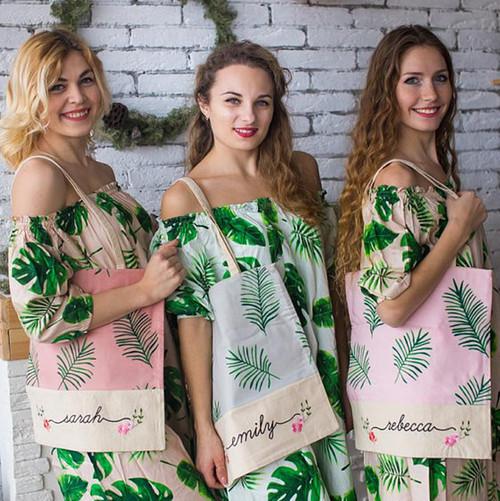 floral bridesmaids tote bags