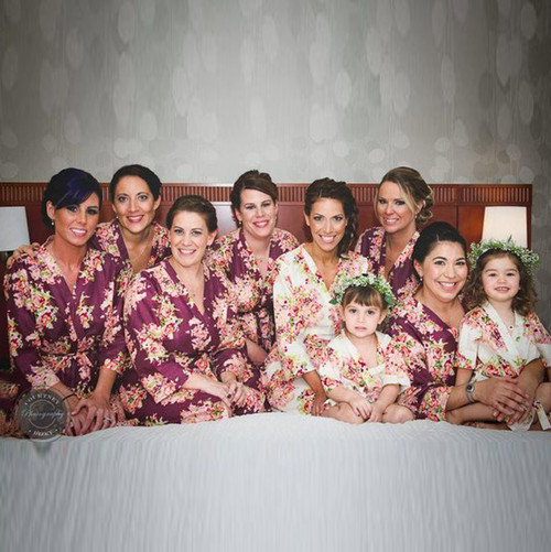 Eggplant Floral Posy Set of Bridesmaids Robes