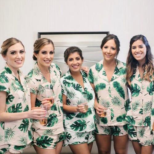 Blush Fun Tropics Pj Sets, tropical print pj sets, palm leaves print pjs