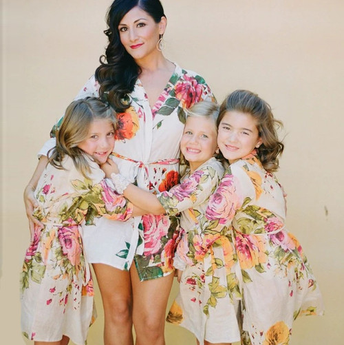 Cream Large Floral Blossom Set of Bridesmaids Robes