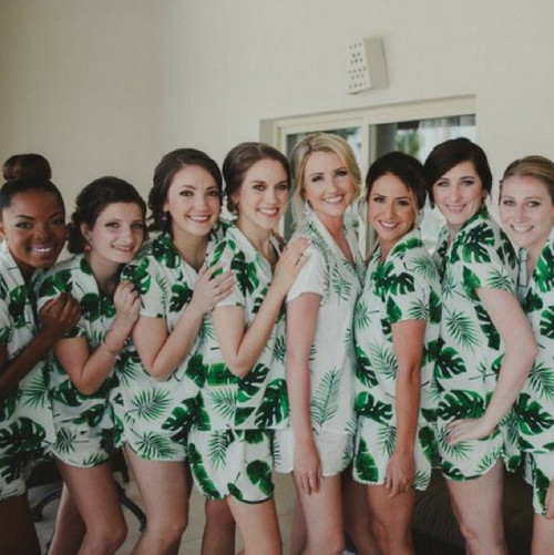 Bridesmaids Pjs in Fun Tropics Pattern - Short Sleeved Notched Collar Style