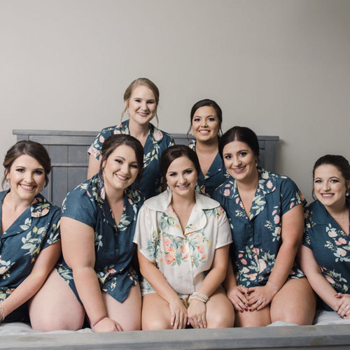 set of 7  bridesmaids pjs, bride and bridesmaids  pj sets