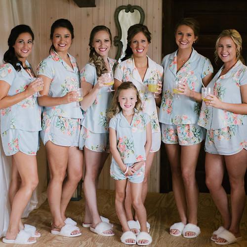 set of 6 bridesmaids pj set,  fower girl p set