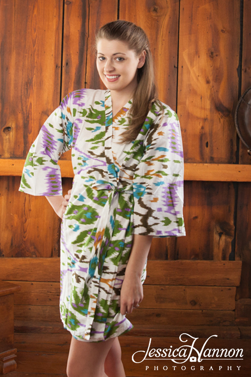 White Green Ikat Aztec Robes for bridesmaids | Getting Ready Bridal Robes