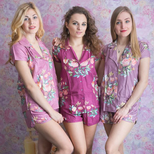Mauve, Plum and Dusty Mauve Notched Collar Style PJs in Dreamy Angel Song Pattern